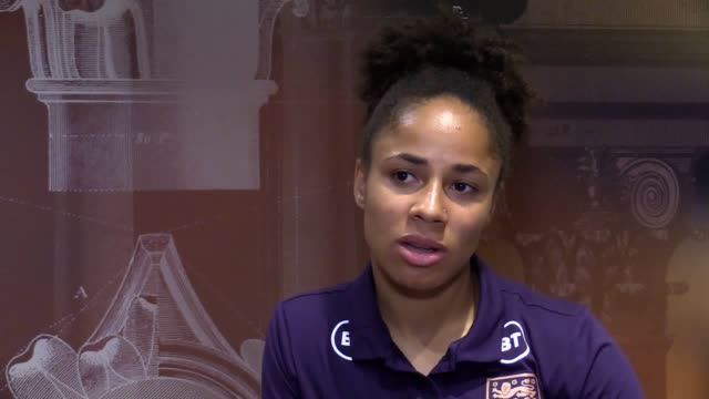 vídeos de stock, filmes e b-roll de interview with england fullback demi stokes ahead of the women's world cup quarterfinal against norway - campeonato esportivo