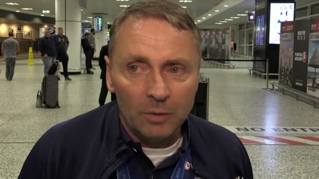 Interview with England Under20 manager Paul Simpson as they arrive back at Birmingham Airport after their World Cup victory in South Korea on Sunday