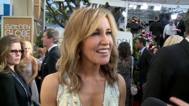 Interview with Felicity Huffman on the red carpet during the 74th Annual Golden Globe Awards