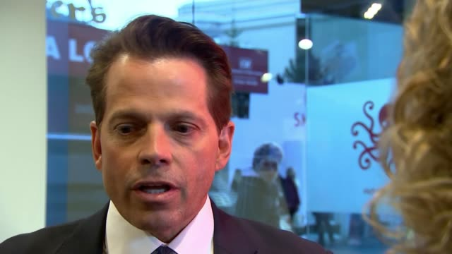 interview with former us communications director anthony scaramucci; switzerland: davos: int anthony scaramucci interview sot - the president is... - president stock videos & royalty-free footage