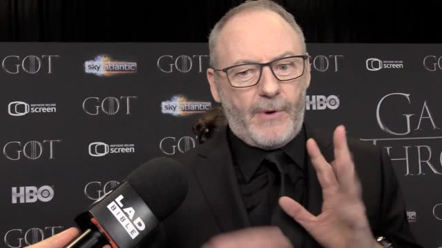 interview with game of thrones star liam cunningham as he attended the red carpet event in belfast ahead of the final season for the tv show - liam cunningham stock videos & royalty-free footage