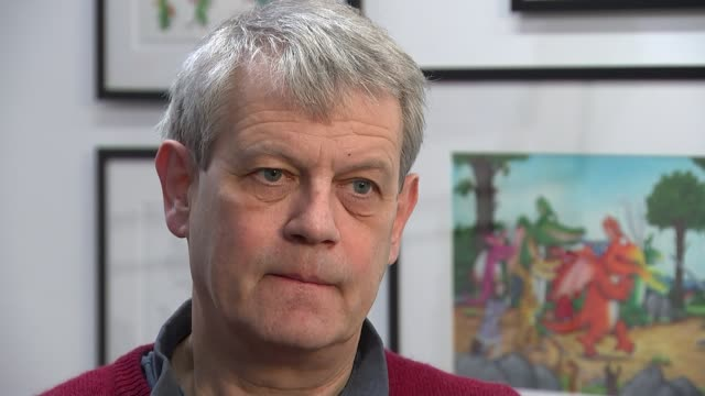 interview with 'gruffalo' illustrator axel scheffler; reporter sat with scheffler scheffler interview sot cutaways illustration of the gruffalo... - illustrator stock videos & royalty-free footage