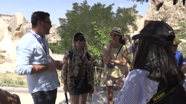 vídeos de stock, filmes e b-roll de interview with head of the goreme tourism development cooperative mustafa durmaz on visitor number of cappadocia on july 11, 2019 in nevsehir central... - eco tourism