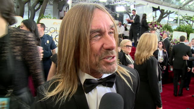 interview with iggy pop on the red carpet during the 74th annual golden globe awards - 74th annual academy awards stock videos & royalty-free footage