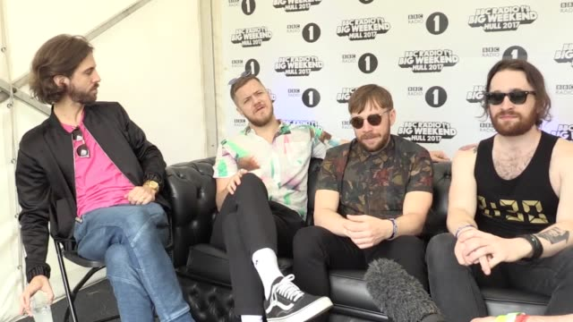 interview with imagine dragons at radio 1's big weekend in hull. the band talk about the eclectic line up and how the manchester bomb attack was felt... - radio 1 big weekend stock-videos und b-roll-filmmaterial
