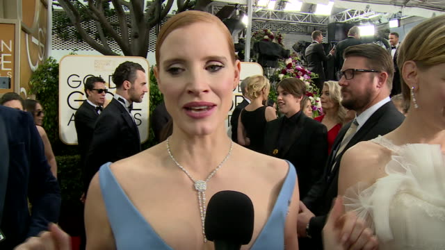 Interview with Jessica Chastain on the red carpet during the 74th Annual Golden Globe Awards
