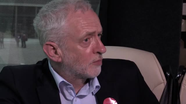 interview with labour leader jeremy corbyn after a rally in telford ahead of thursday's general election jeremy corbyn will use a satellite link to... - 木曜日点の映像素材/bロール