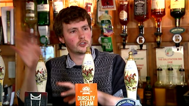 vídeos de stock e filmes b-roll de interview with landlord and gvs pub england gloucester ham int peter tiley interview sot on winning pub of the year award / on what he misses about... - insólito
