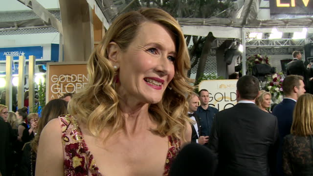 interview with laura dern on the red carpet during the 74th annual golden globe awards - 第74回アカデミー賞点の映像素材/bロール