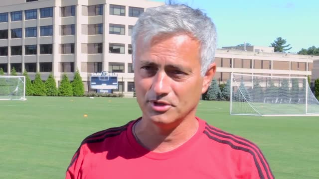 interview with manchester united manager jose mourinho in washington on the club's preseason tour of the united states - ジョゼ・モウリーニョ点の映像素材/bロール