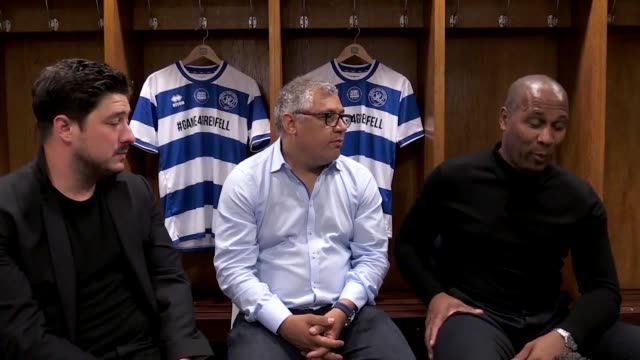 interview with marcus mumford grenfell fire survivor nicholas burton and les ferdinand at loftus road as it's announced a host of stars from film and... - クイーンズ パーク レンジャーズfc点の映像素材/bロール