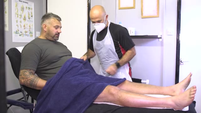 interview with masseuse andy senior of as therapy and fitness in leeds after he returned to work for the first tine since lockdown restrictions were... - masseur stock videos & royalty-free footage