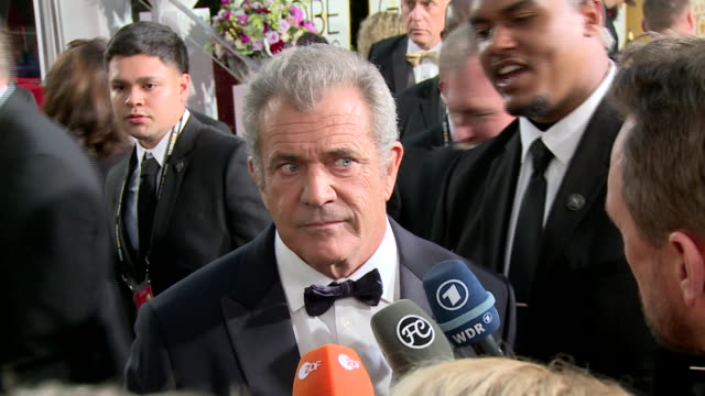interview with mel gibson on the red carpet during the 74th annual golden globe awards - 74th annual academy awards stock videos & royalty-free footage