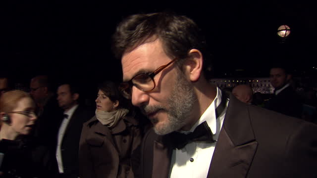 Interview with Michel Hazanavicius director of The Artist 'it's another form of expression and people rediscover it' on January 19 2012 in London...