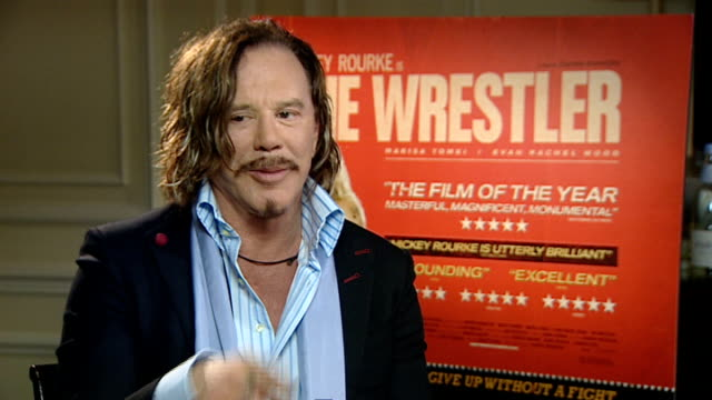 london int mickey rourke interview sot on being offered the part of randy robinson in 'the wrestler' by director darren aronofsky / on aranofsky... - mickey rourke actor stock videos & royalty-free footage