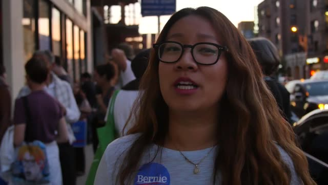 vídeos de stock e filmes b-roll de interview with nancy kim a community organizer and bernie sanders supporter at the opening of first california campaign office in los angeles - partido democrático eua