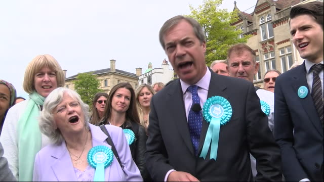 interview with nigel farage, leader of brexit party while out campaigning for european parliament elections, on may 20, in exeter, united kingdom. - brexit party stock videos & royalty-free footage