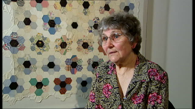 vídeos de stock e filmes b-roll de interview with one of the creators of the changi quilts henderson interview sot used to meet up once a week to make quilt / always had to listen out... - caixa de fósforos