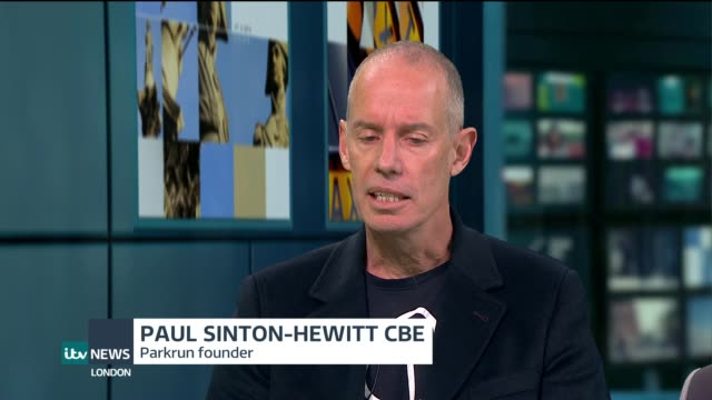 Interview with Parkrun founder Paul SintonHewitt ENGLAND London GIR INT Paul SintonHewitt CBE Rachel Bentley and Fred Bentley LIVE STUDIO interview...