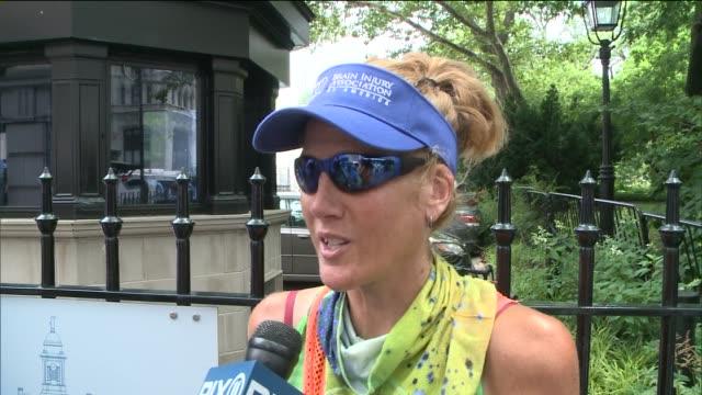 vídeos de stock e filmes b-roll de interview with runner jessica goldman of forward motion on july 15 2014 in new york city - milha