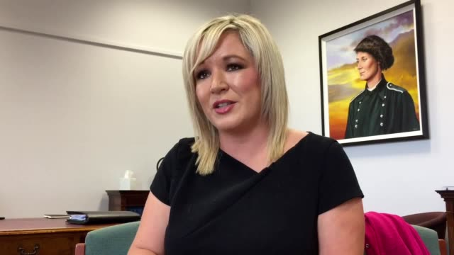 interview with sinn fein vice president michelle o'neill on second anniversary of martin mcguinness's death she discusses the powersharing deadlock... - martin mcguinness stock videos and b-roll footage