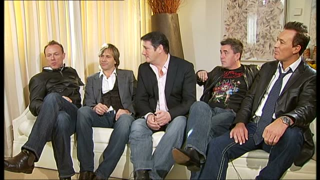 interview with spandau ballet; spandau ballet interview sot - on not being daunted by prospect of tour / on taking the chance to show that the band... - ポピュラーミュージックツアー点の映像素材/bロール