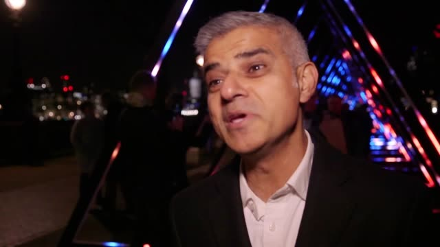 Interview with the mayor of London Sadiq Khan in occasion of the dress rehearsal of Lumiere London alongside The Wave by Vertigo one of the artworks