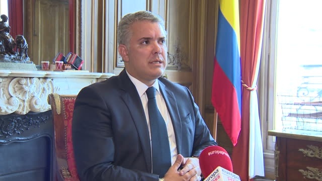 interview with the president of colombia iván duque on the occasion of his european tour which has taken him to visit great britain france and... - ship stock videos & royalty-free footage