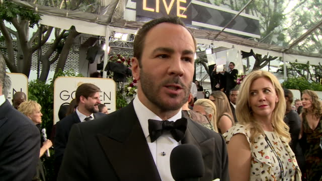 interview with tom ford on the red carpet during the 74th annual golden globe awards - 74th annual academy awards stock videos & royalty-free footage