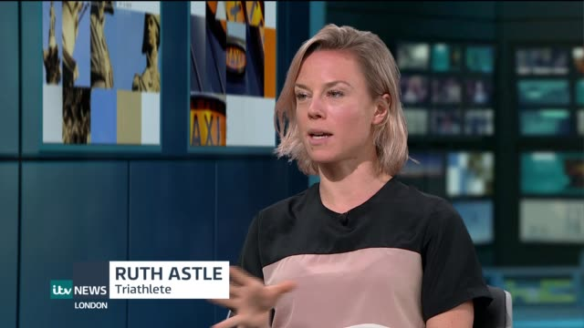 interview with triathlete ruth astle; england: london: gir: int ruth astle live studio interview sot - triatleta video stock e b–roll