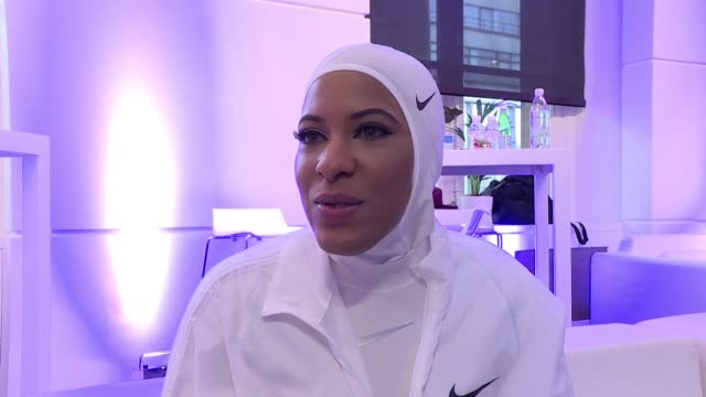 interview with us fencer ibtihaj muhammad who weighed in on the row over the marketing of a sports version of the hijab muslim headscarf in france - hijab stock videos & royalty-free footage