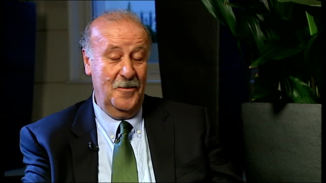 interview with vicente del bosque; london: south kensington: int vicente del bosque interview on harry redknapp sot - i don't have an opinion - i... - ハリー レッドナップ点の映像素材/bロール