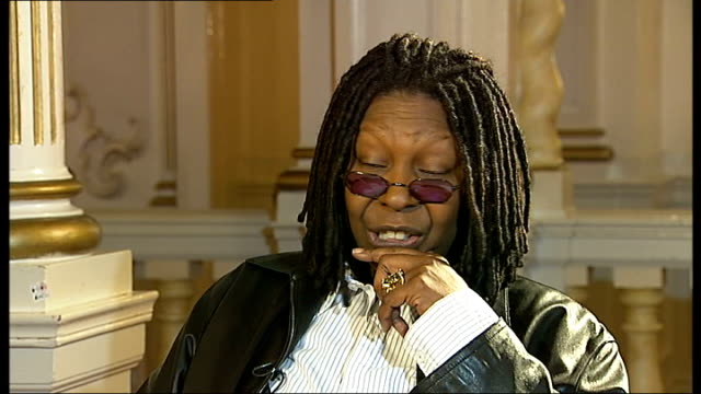 interview with whoopi goldberg whoopi goldberg interview sot on why she came to london to make 'sister act' stage musical / on her fear of flying - whoopi goldberg stock videos & royalty-free footage