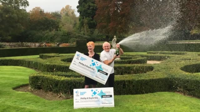 interview with winners phillip and gayle say a lucky couple have won a £500000 jackpot twice in the same lottery draw after almost trying to make one... - millionnaire stock videos & royalty-free footage