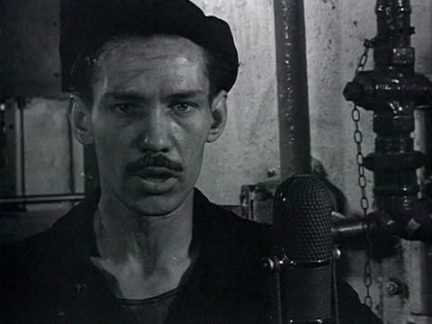 vídeos de stock e filmes b-roll de cu interview with worker in zil car factory in moscow worker telling about his own experience of work in china audio / moscow russia - 1958