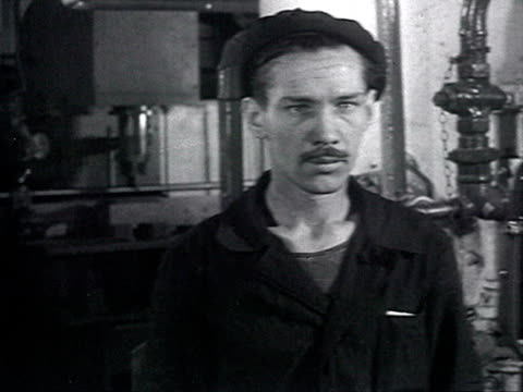 interview with worker in zil car factory in moscow worker telling about his own experience of work in china audio / moscow russia - anno 1958 video stock e b–roll