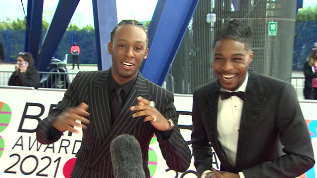 interview young t and bugsey, hip hop duo, on red carpet at brit awards 2021, about being nominated for an award - presentation stock videos & royalty-free footage