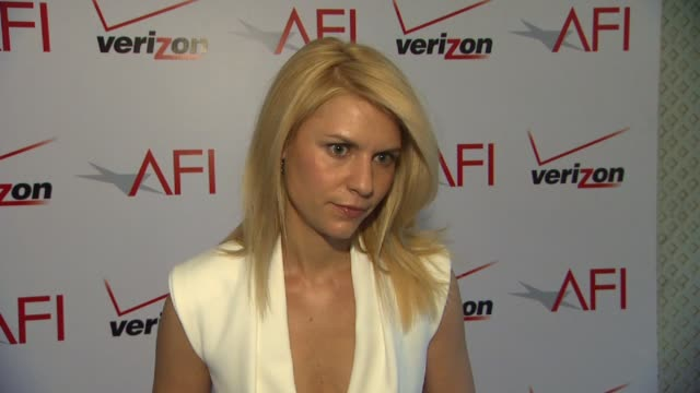 claire danes on the collaborative process between her and her costars and on the afi awards at afi awards 2012 luncheon in beverly hills ca on 1/13/12 - claire danes stock videos and b-roll footage