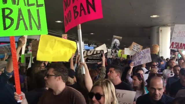 Interviews SOT B roll Protesters are rallying against President Trump's executive order barring US entry to refugees and greencard holders from seven...