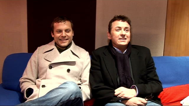 Interviews with actors Shane Richie and Lex Shrapnel and musicians Kevin Sherry and Colin McArdle ENGLAND London INT Shane Richie and Lex Shrapnel...