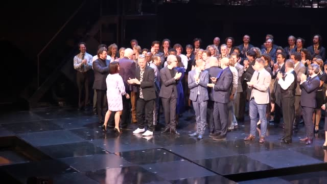 interviews with bjorn ulvaeus benny andersson and sir tim rice from abba during the after show for the press night of the musical chess at the london... - london coliseum stock videos and b-roll footage