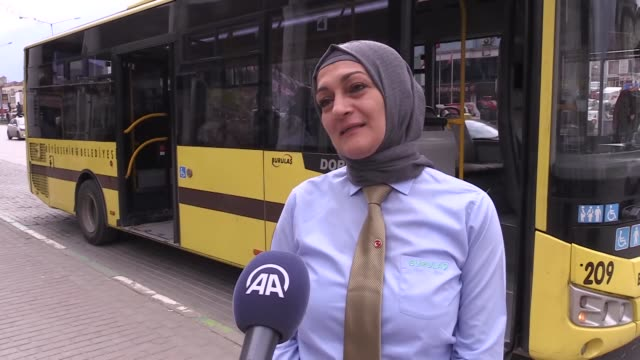 interviews with bus driver aysen akcay and tram driver zeynep ozbasaran in bursa province of turkey on march 07 2019 on the occsion of international... - bus driver stock videos & royalty-free footage