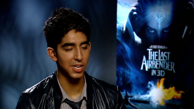 Interviews with cast of film 'The Last Airbender' Dev Patel interview SOT On action aspects of film Too much energy as a child kicking doors shut...