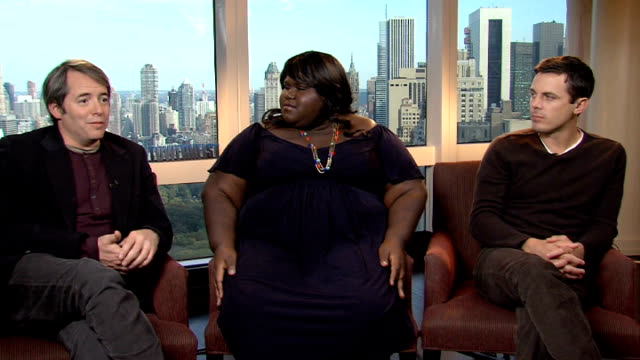 interviews with cast of new movie 'tower heist'; matthew broderick , gabourey sidibe and casey affleck interview sot - on favourite part to shoot:... - matthew broderick stock videos & royalty-free footage