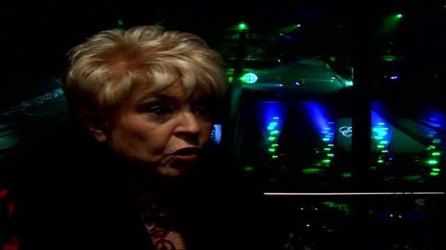 interviews with celebrities attending emeralds & ivy ball; gloria hunniford interview sot - on her work for cancer research uk / link between marie... - gloria hunniford stock-videos und b-roll-filmmaterial