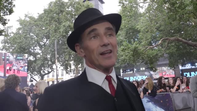 Interviews with Jack Lowden Sir Mark Rylance James D'Arcy and Christopher Nolan attending the Dunkirk world premiere at the Odeon Leicester Square