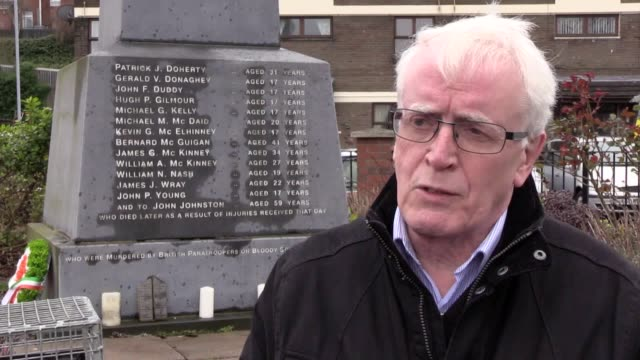 vídeos de stock e filmes b-roll de interviews with john kelly, whose 17-year-old brother michael was killed in derry on bloody sunday and shots of derry . solider f will face... - kelly o'donnell