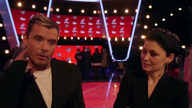 Interviews with judge Gavin Rossdale host Emma Willis and judge william and his act Michelle John at The Voice UK final photocall in London