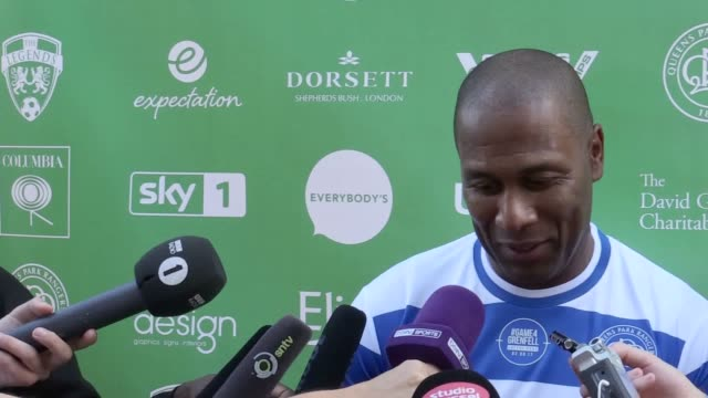 interviews with les ferdinand tony fernandes omar salha and paul menacer following the game4grenfell charity football match - トニー・フェルナンデス点の映像素材/bロール