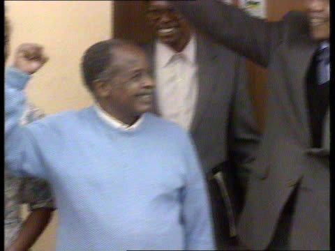 interviews with nelson mandela fw de klerk itn soweto ext nelson mandela waving to crowds during visit to see old colleague fellow prisoner children... - soweto stock videos and b-roll footage